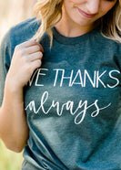 dark green women's give thanks fall graphic tee