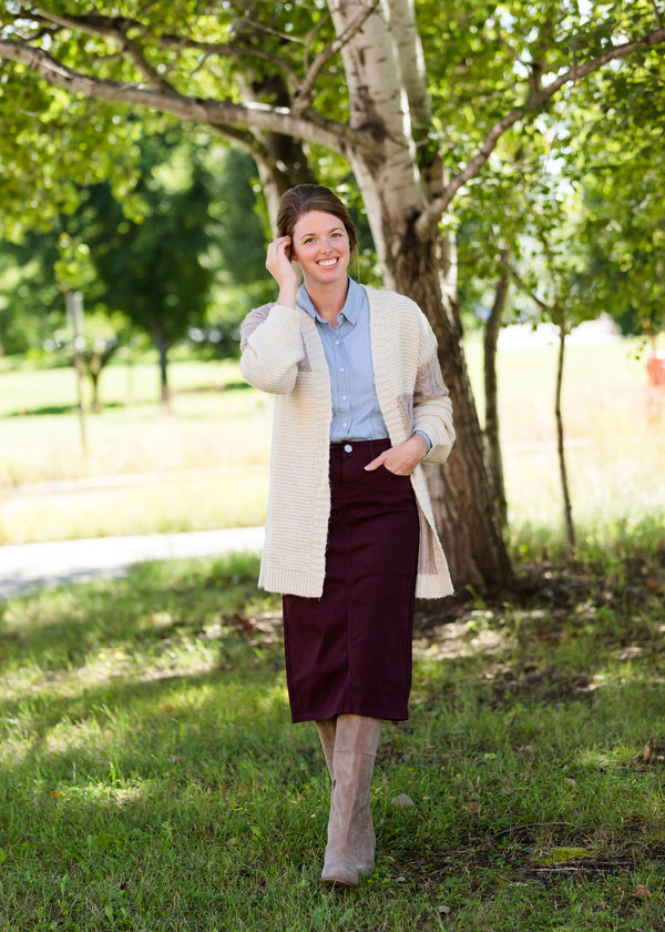 Inherit Co.  | Modest Women's Skirts | Remi Wine Midi Skirt