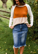 Rust Colorblock Striped Sleeve Top - FINAL SALE