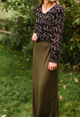 Inherit Co.  | Green | Gwen Long Corduroy Skirt - FINAL SALE |