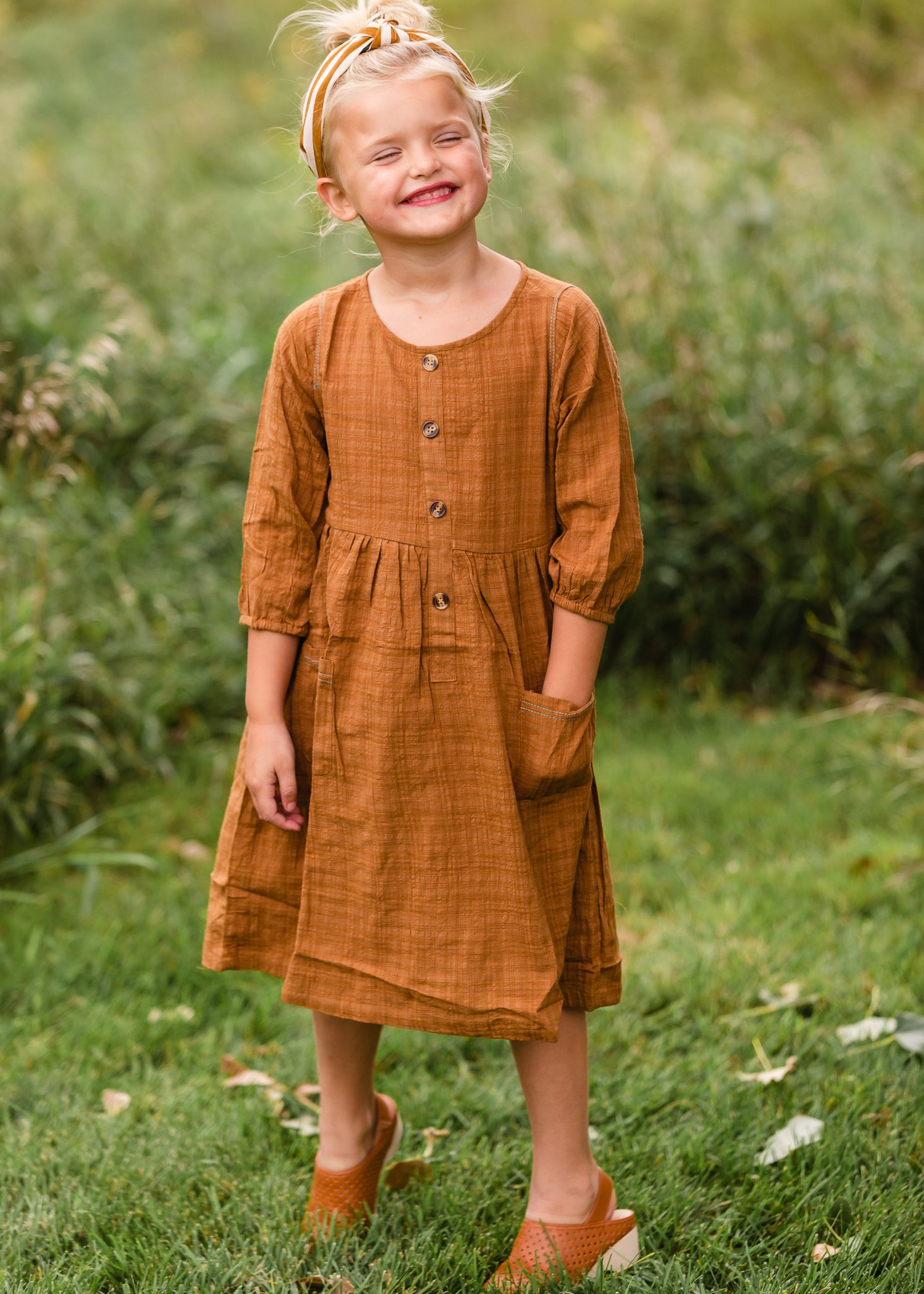 Girls Brown Button Front Midi Dress