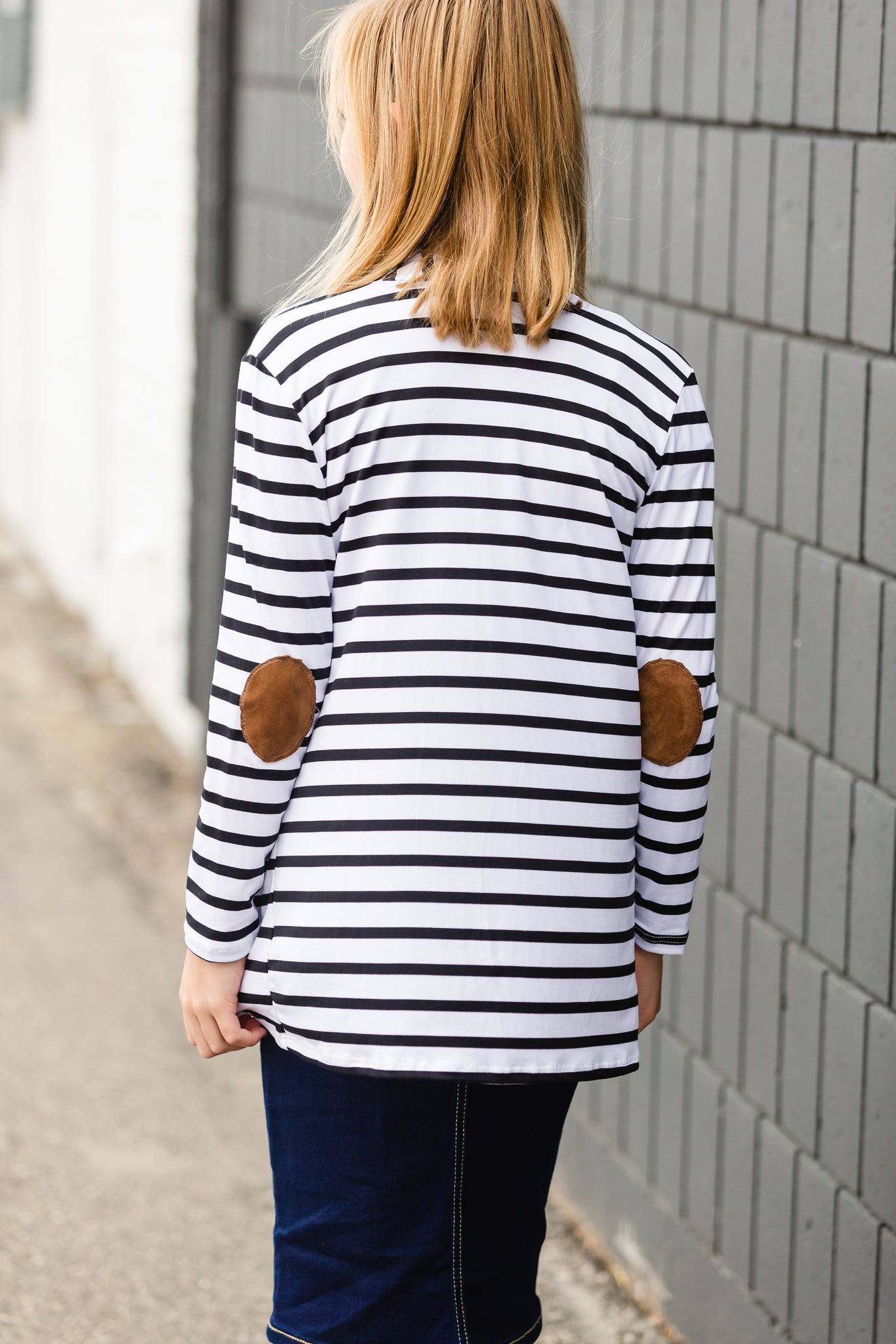 Black Striped Patch Elbow Cardigan - FINAL SALE