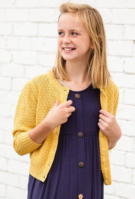 Inherit Co.  | Girls Modest Clothing | Black Striped Patch Elbow Cardigan |