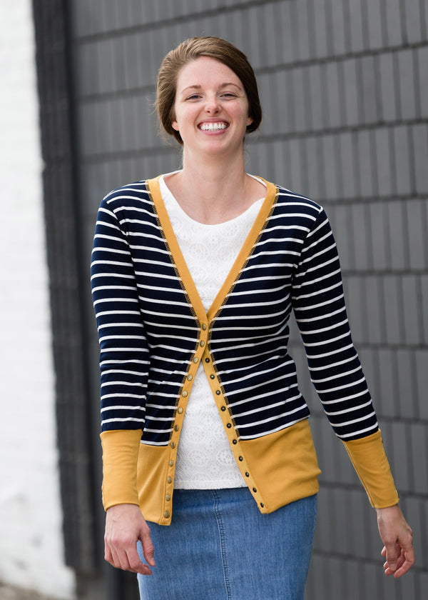 Inherit Co.  | Modest Women's Tops | Striped Snap Button Cardigan