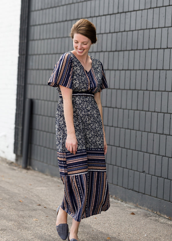 Inherit Co.  | Women's Modest Dresses | Navy Printed Maxi Dress