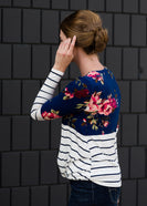 Floral Stripe Front Knot Top