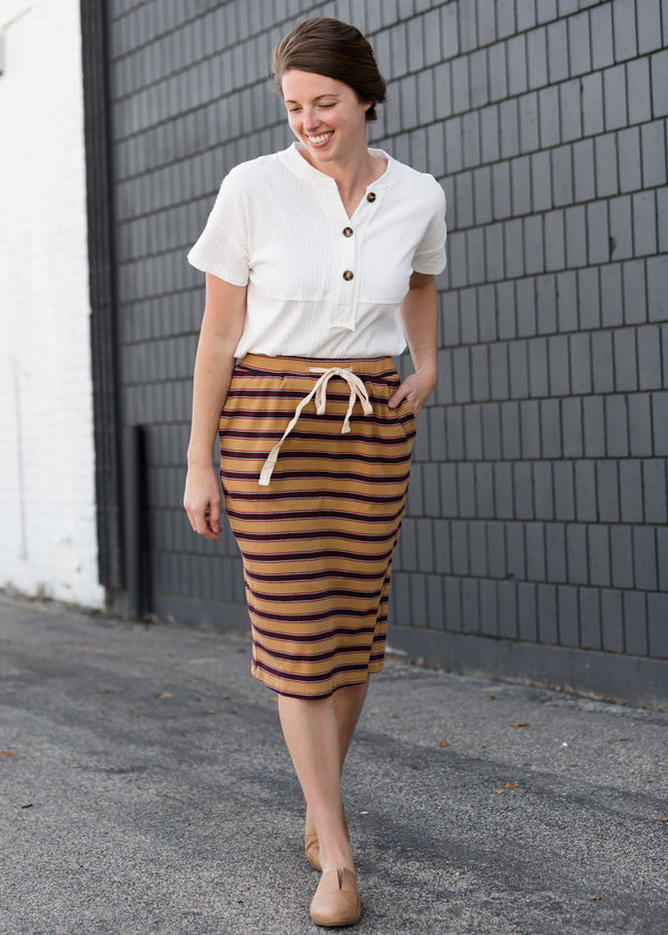 Inherit Co.  | Women's New Arrivals | Striped Style Midi Skirt