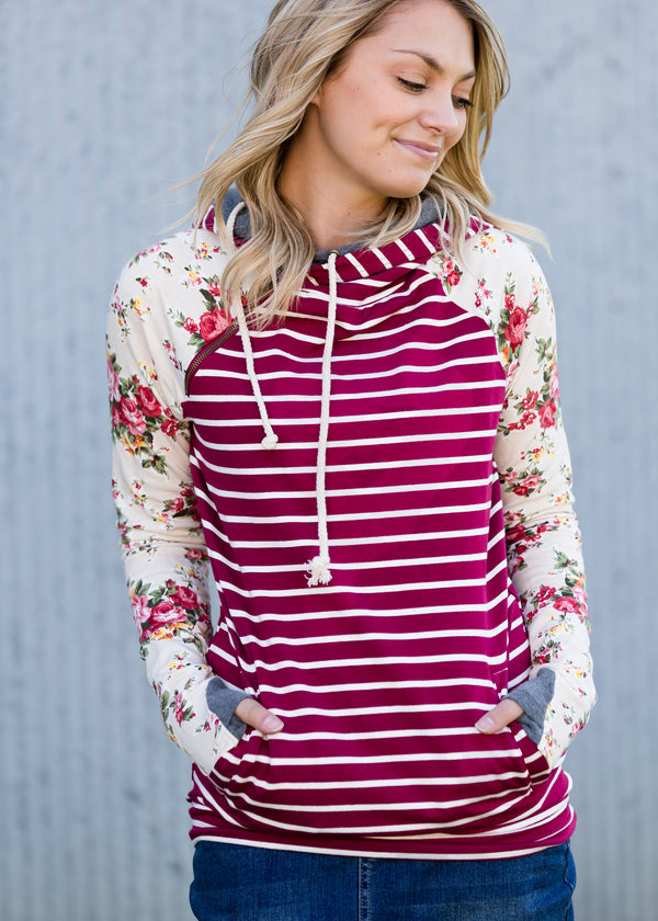 Inherit Co.  | Modest Women's Tops | DoubleHood™ Floral and Stripe Sweatshirt