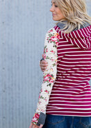 DoubleHood™ Floral and Stripe Sweatshirt