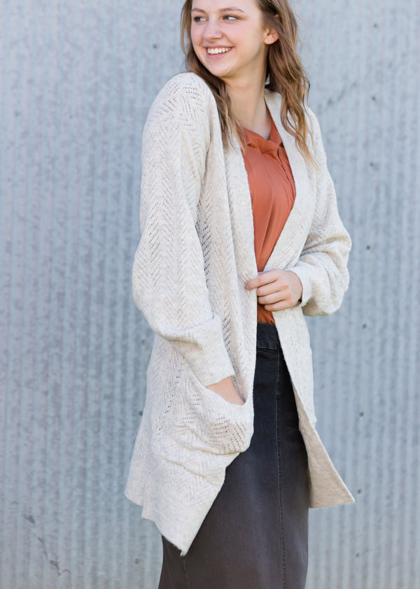 Inherit Co.  | Modest Women's Tops | Jacquard Knit Open Front Cardigan