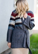 Aztec Belted Long Sleeve Cardigan - FINAL SALE