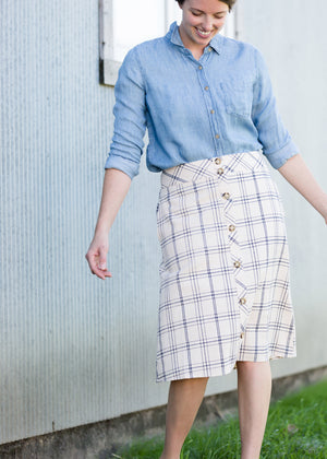 Button Front Feminine Midi Skirt - FINAL SALE