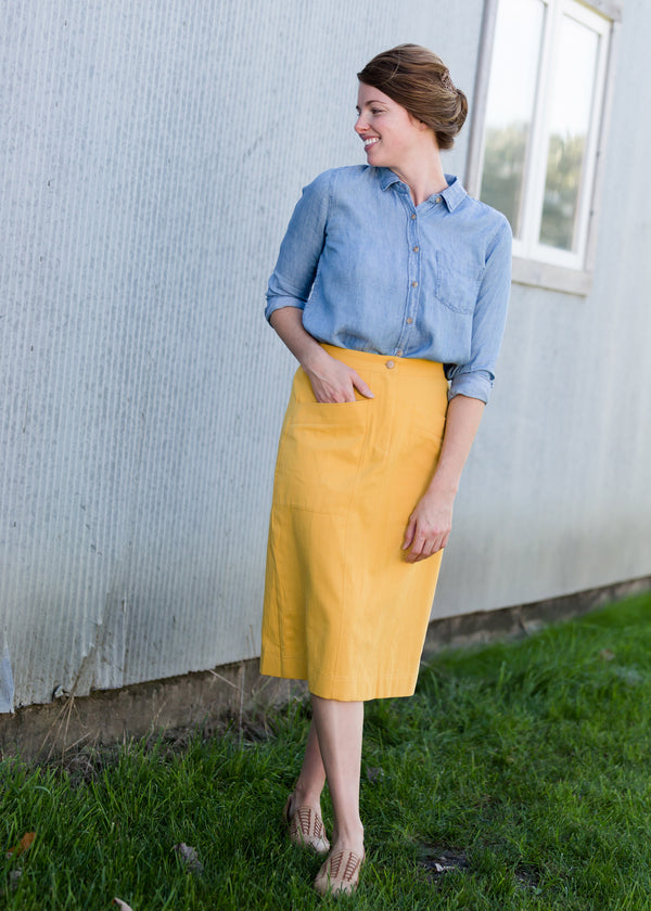 Inherit Co.  | Women's New Arrivals | Golden Pocket Front Midi Skirt