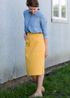 Golden Pocket Front Midi Skirt - FINAL SALE