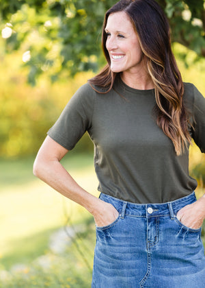 DOORBUSTER - Basic Short Sleeve Olive Crew Neck Tee - FINAL SALE