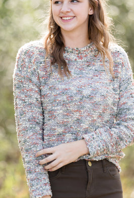 Multi Color Boucle Knit Sweater