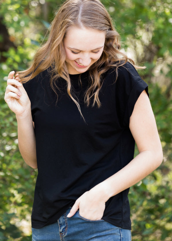 Inherit Co.  | Modest Women's Tops | Simple Black Boxy Tee