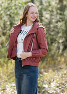 Inherit Co.  | Modest Women's Tops | Canvas Hooded Jacket With Pockets - FINAL SALE