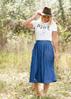 Denim Double Button Midi Skirt - FINAL SALE