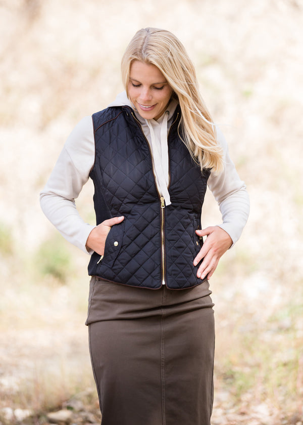 Inherit Co.  | Modest Women's Tops | Quilted Contrast Puffer Vest - FINAL SALE