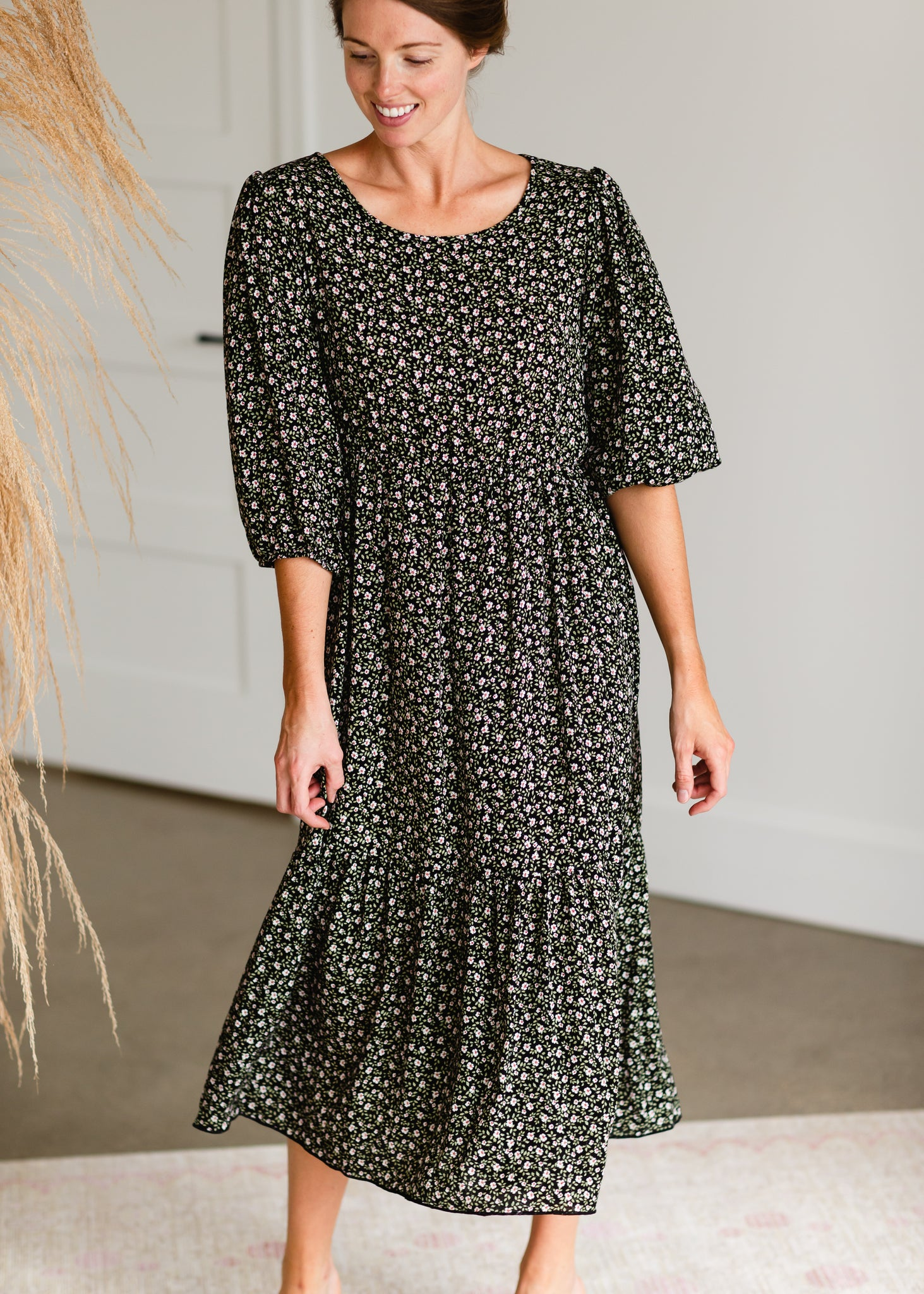 Tiered Black Floral Print Maxi Dress - FINAL SALE