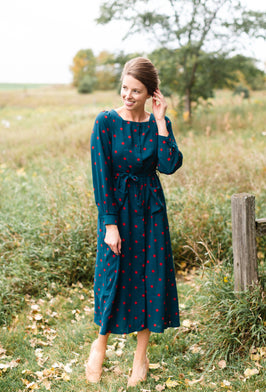 Inherit Co.  | Women's Modest Dresses | Buttery Soft Floral Midi Dress w/ Flyaway Sleeves - FINAL SALE |