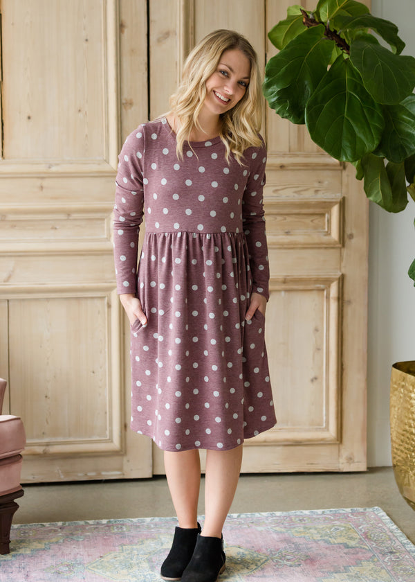 Inherit Co.  | Women's Modest Dresses | Polka Dot Long Sleeve Knit Midi Dress