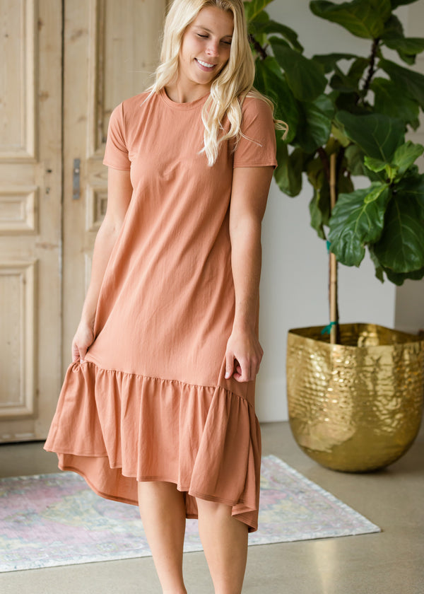 Inherit Co.  | Women's Modest Dresses | Dusty Rust Flare Midi Dress