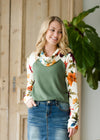 Mixed Floral Loose Turtleneck