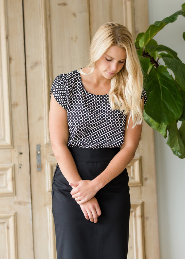 Inherit Co.  | Modest Women's Tops | Diamond Detail Ruffle Sleeve Top - FINAL SALE