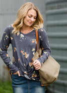 Denim Floral Print Top - FINAL SALE