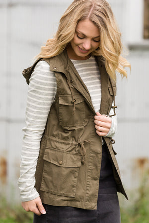 Military Style Hooded Cargo Vest - FINAL SALE