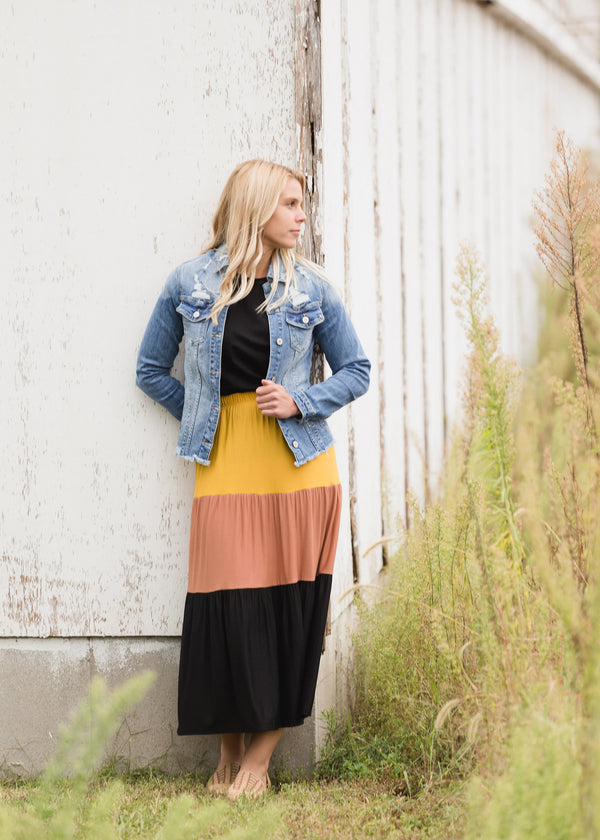 Inherit Co.  | Modest Women's Skirts | Color Block Tiered Midi Skirt