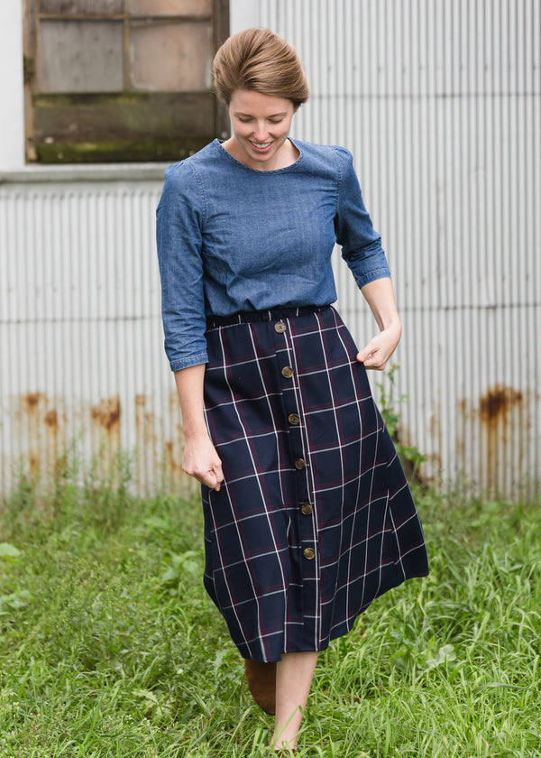 Inherit Co.  | Modest Women's Skirts | Windowpane Button Midi Skirt