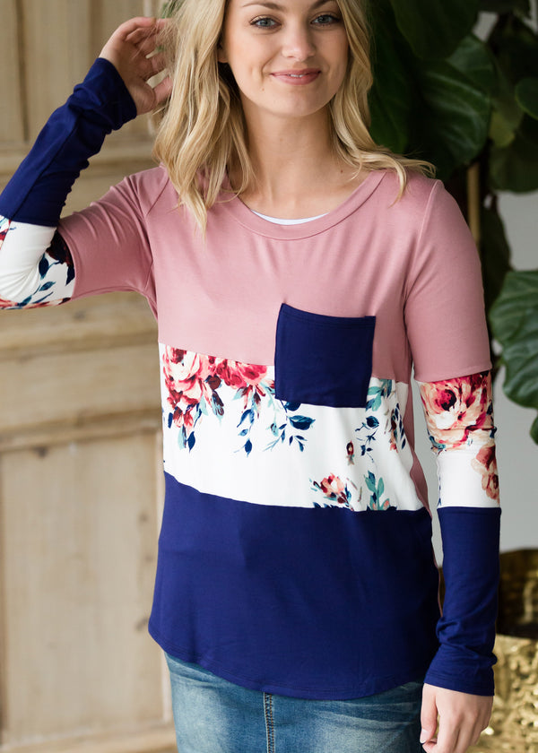Inherit Co.  | Modest Women's Best Sellers | Neutral Floral Color Block Top