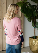 Neutral Floral Color Block Top - FINAL SALE