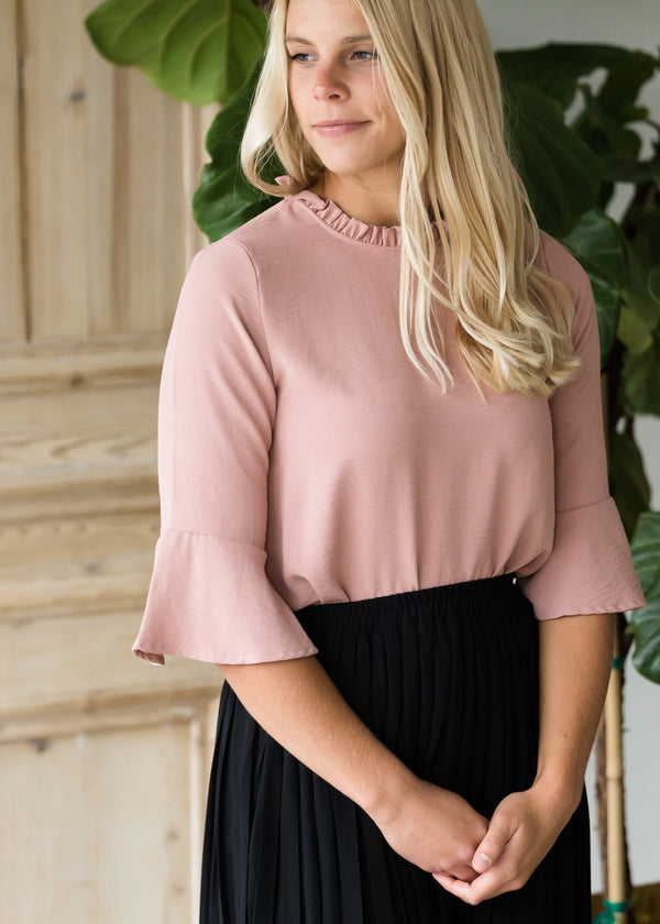 Inherit Co.  | Modest Women's Tops | Ruffle Neck Dressy Top - FINAL SALE