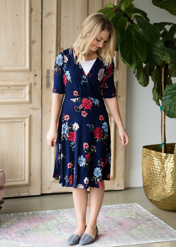 Inherit Co.  | Modest Women's Maternity | Floral Side Tie Midi Dress
