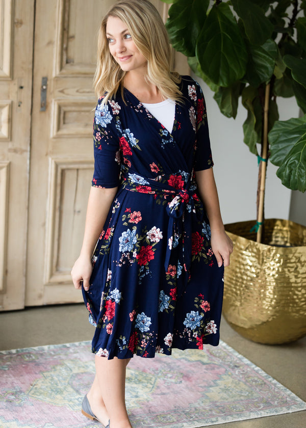 Inherit Co.  | Floral Side Tie Midi Dress - FINAL SALE