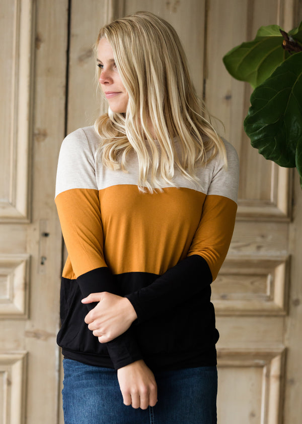 Inherit Co.  | Modest Women's Tops | Tiered Color Block Top