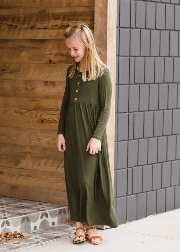 Inherit Co.  | Women's New Arrivals | Button Front Olive Maxi Dress