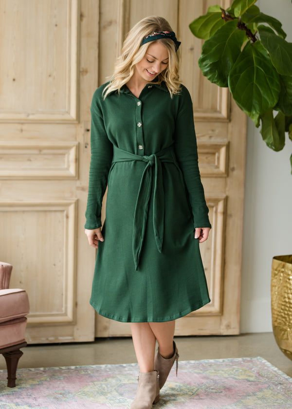Inherit Co.  | Women's Modest Dresses | Long Sleeve Button Midi Dress