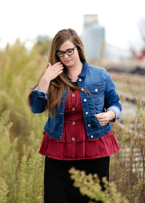 Inherit Co.  | Modest Plus Size Clothing | Cropped Jean Denim Jacket