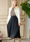 Long Pleated Black Skirt