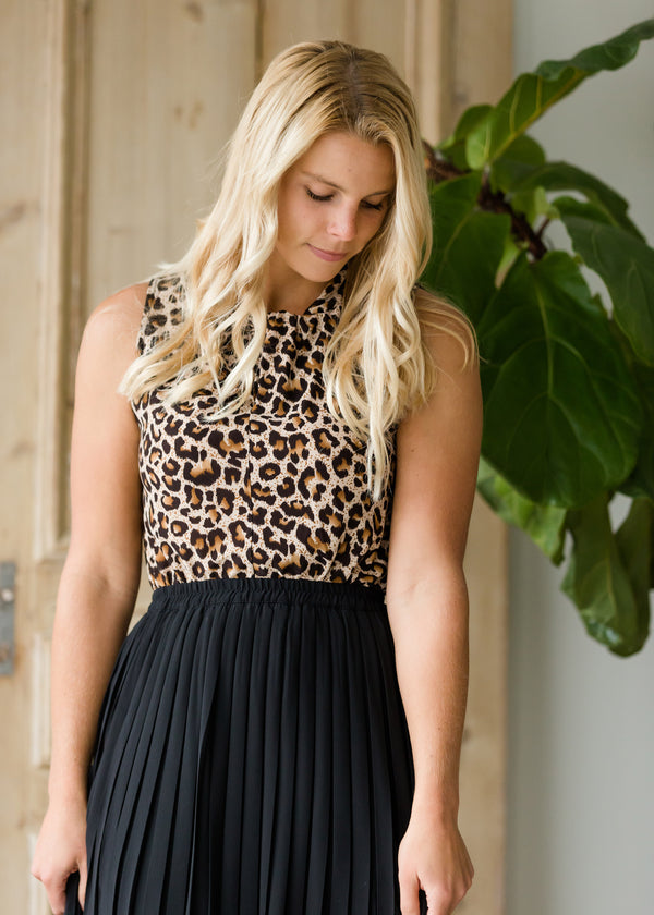Inherit Co.  | Modest Women's Tops | Leopard Print Twist Sleeveless Top