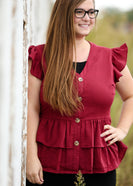 Inherit Co.  | Modest Plus Size Clothing | Tiered Button Up Ruffle Hem Top - FINAL SALE