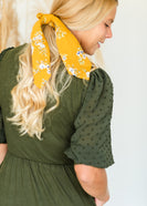 Green Swiss Dot Sleeve Midi Dress - FINAL SALE