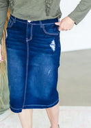 Distressed Dark Denim Midi Skirt - FINAL SALE