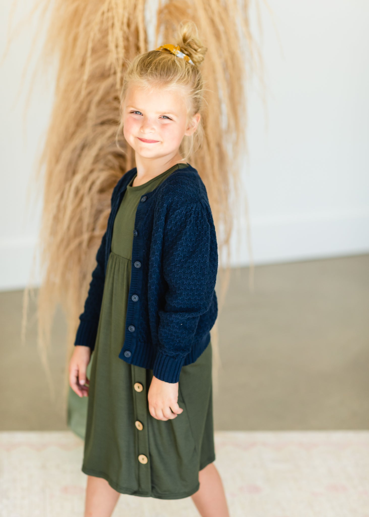 Girls Navy Knitted Cardigan - FINAL SALE