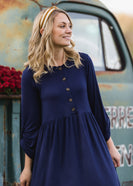 3/4 Sleeve Babydoll Midi Dress